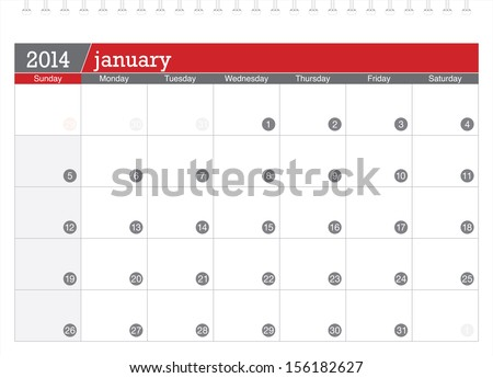 january 2014 planning calendar - stock vector