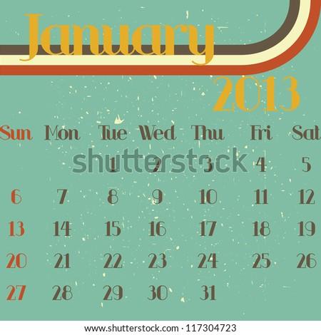 January 2013 retro vector illustration calendar template design - stock vector