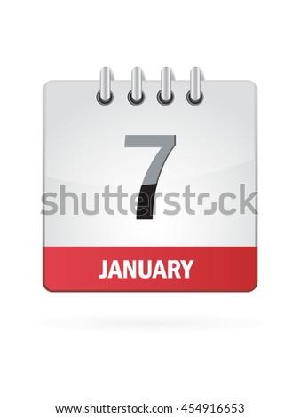 January Seven. Calendar Icon - stock vector