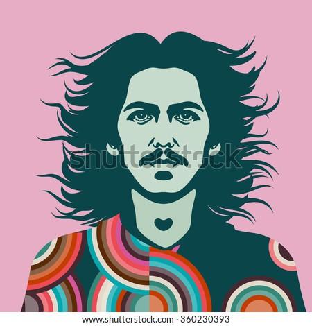JANUARY 8 2016: Vector Illustration of George Harrison, eps10, vector - stock vector - stock vector