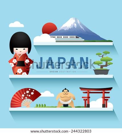 Japan and Fuji Mountain ,Destination ,vector set ,shelf - stock vector