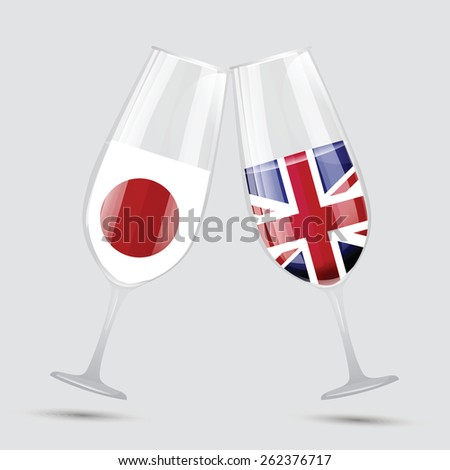 Japan and Great Bertain UK England friendship flag wine glass vector illustration - stock vector