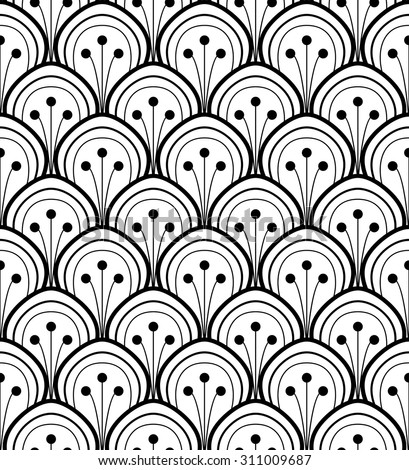 Japan black and white seamless ornament background vector - stock vector