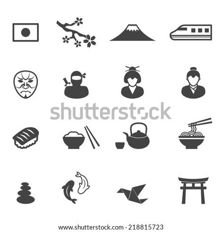 japan culture icons, mono vector symbols - stock vector