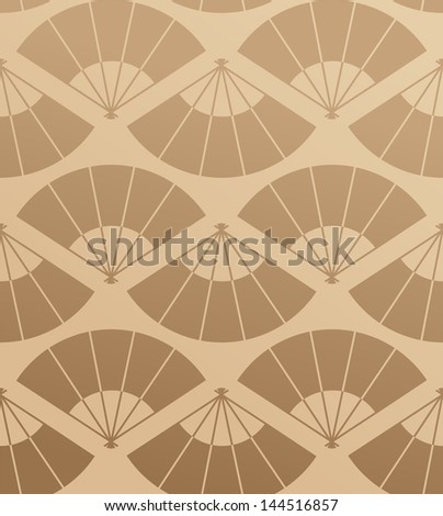 Japan fan abstract background in damask. Vector illustration layered for easy manipulation and custom coloring. - stock vector
