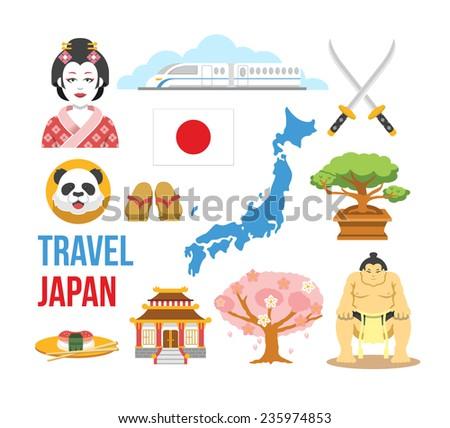Japan flat icons set - stock vector
