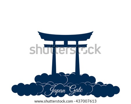 Japan gate isolated on white background. Vector illustration. - stock vector