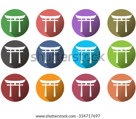 Japan Gate. Torii gate. Flat. Shinto. A set of vector icons in different colors. - stock vector