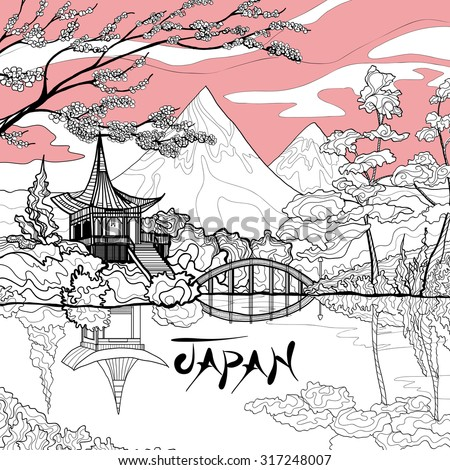 Japan landscape background with sketch pagoda sakura branch and mountains on background vector illustration - stock vector