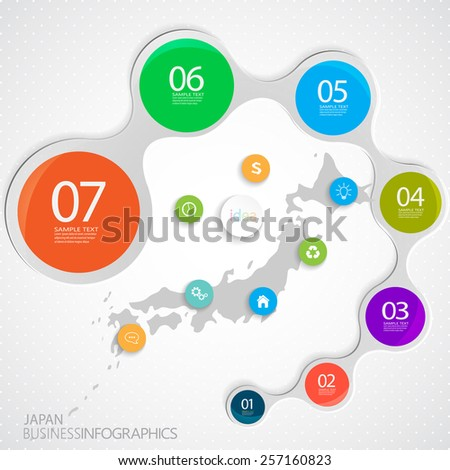 Japan Map and Elements Infographic. Vector illustration - stock vector