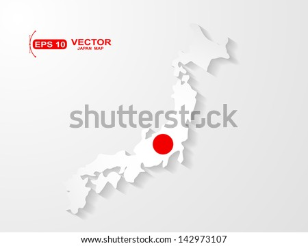 Japan map with shadow effect  - stock vector