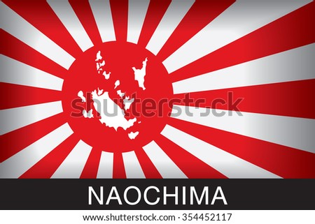 Japan Navy Flag An Navy Flag Japan with red background and message, Naochima and map, vector art image illustration  - stock vector