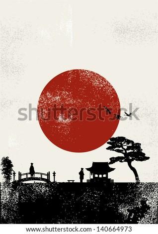 Japan scenery poster, vector - stock vector