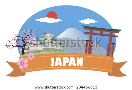 Japan. Tourism and travel - stock vector