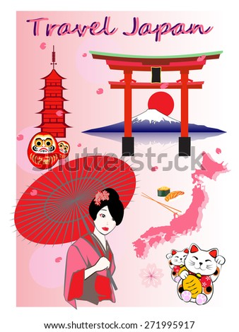 Japan travel concept with japan icon lucky cat japanese maneki neko daruma mountain fuji, vector eps 10 - stock vector
