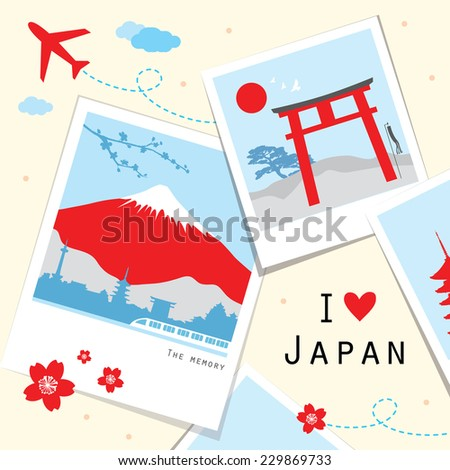 Japan View Travel Photo Frame Memory Vector  - stock vector