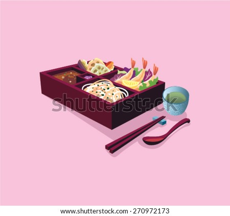 Japanese Box Lunch Soba Bento Set - stock vector