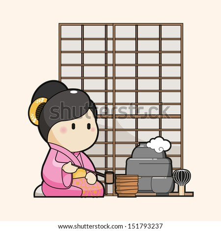 Japanese Character cartoon serving traditional tea, EPS10 vector format - stock vector