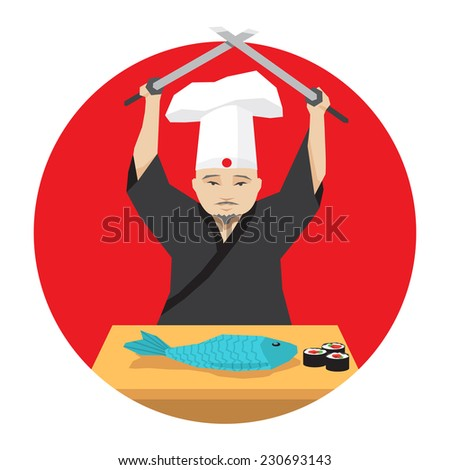 Japanese chef cooking fish using two katana - stock vector