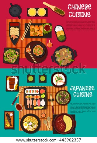 Japanese cuisine with omakase sushi and chinese fried dumplings, soba and udon noodles, rice with kobe beef and oranges, pancakes and shrimp salad, soups, fish skewers and clams, sauces, green tea - stock vector