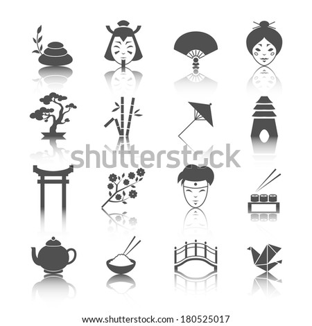 Japanese culture icons set of bonsai tree origami sushi and tea ceremony isolated vector illustration - stock vector