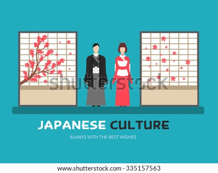 Japanese culture. Japan family. Japan Design. Vector Japan couple. Background. Japan Background. Abstract couple Japan. Japan couple Flat. Japan Icon. Modern Japan. Japan couple. Japan couple concept - stock vector