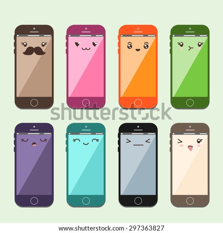 Japanese cute Kawaii - colorful mobiles or cell phones - stock vector