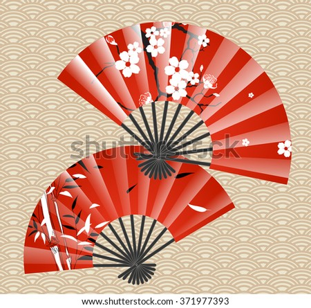 Japanese fan - stock vector