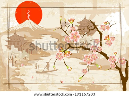 Japanese fisherman and village against the backdrop of Mount Fuji in the evening - stock vector