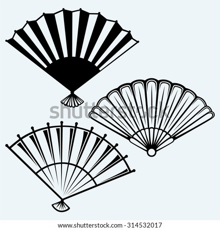 Japanese folding fan. Isolated on blue background - stock vector