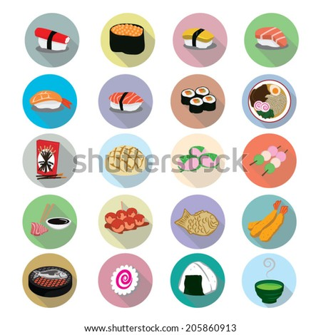 Japanese Food icons set - stock vector