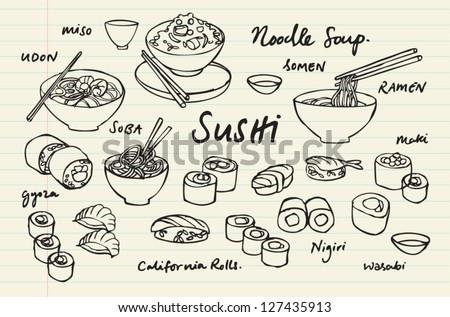 Japanese food - sushi & noodles vector illustration - stock vector