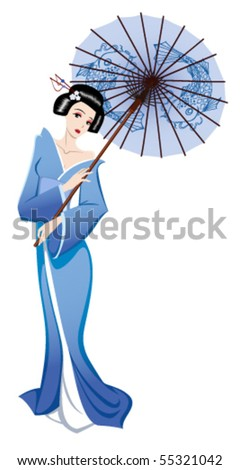 japanese girl in traditional clothes - stock vector