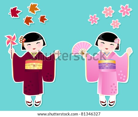 Japanese girls in kimonos of autumn and spring - stock vector