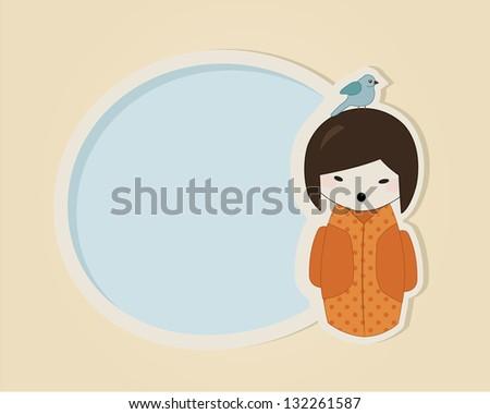 Japanese kokeshi doll in orange kimono speech bubble or greeting card template - stock vector
