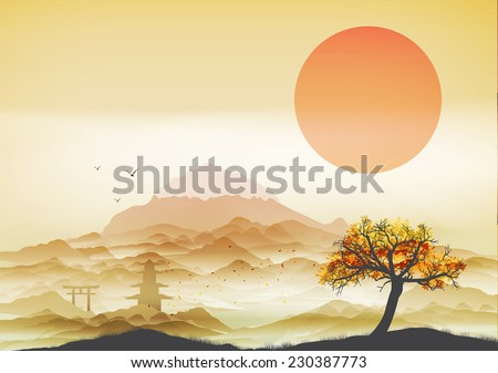 Japanese Landscape Background with Mountains and Arch - Vector Illustration - stock vector