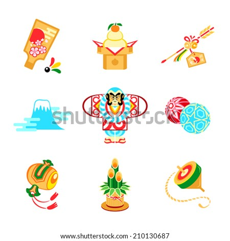 Japanese New Year toys, decorations and symbols - stock vector