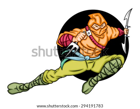 Japanese Ninja Fighting - stock vector