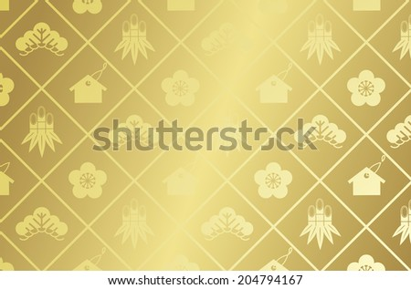 japanese pattern gold Vector - stock vector