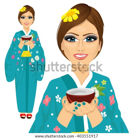 Japanese pretty woman wearing kimono holding a cup of green tea - stock vector