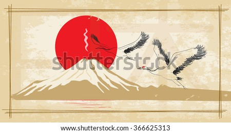 Japanese red-crowned crane flying in the sun and Mount Fuji - stock vector
