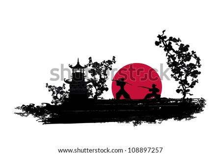 Japanese Samurai fighter silhouette - stock vector