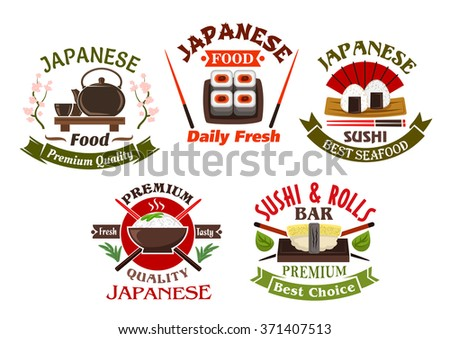 Japanese seafood restaurant and sushi bar icons or symbols design with sushi rolls and sushi nigiri, with chopsticks and ceramic tea set. Ornated by banners, green tea leaves and blooming sakura - stock vector