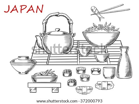 Japanese seafood sketch with sashimi and sushi rolls below a table set with a teapot, fresh salad and bowl of rice and prawns with one held in chopsticks. Vector sketch - stock vector