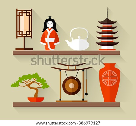 Japanese souvenirs on a shelf. Vector illustration in flat style. Traditional Japan accessories. - stock vector