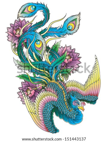 Japanese Style Peacock - stock vector