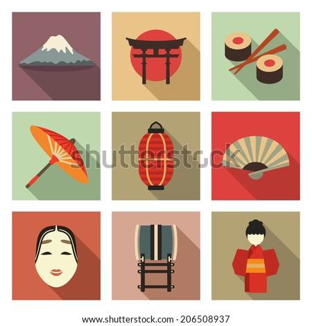 Japanese theme flat icon set - stock vector