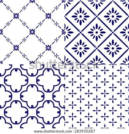 Japanese Tile Pattern,set of 4 seamless background, vector illustration - stock vector