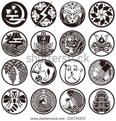 Japanese traditional and cultural icons - stock vector