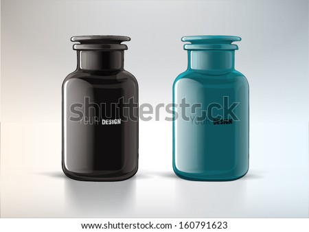 Jar from glass with cover. For new design - stock vector